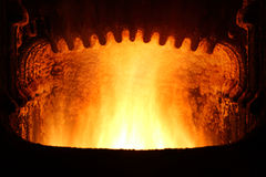 Fire in furnace. Royalty Free Stock Images