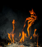 Fire on furnace Royalty Free Stock Photography
