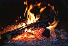 Fire in the furnace stock images