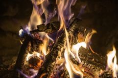 The fire in the furnace. With sparks Royalty Free Stock Photo