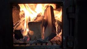 Fire in furnace fireplace stock footage