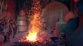 Fire in the furnace in the smithy. Azerbaijan, Adult, Ash, Authority, Barbecue Grillrnfire stock footage