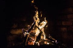 The fire in the furnace. With sparks Royalty Free Stock Images
