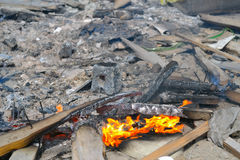 Fire in the garbage stock photography