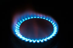 Fire of gas flame. A fire of gas flame is in darkness Stock Image