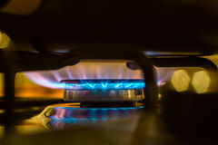 Fire from gas kitchen stove Stock Photography