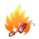 Fire with a gas pump nozzle. Illustration design over a white background Royalty Free Stock Photos
