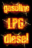 Fire Text Gasoline LPG Diesel. Fire gasoline lpg diesel text in burning flames Royalty Free Stock Image