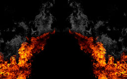 Fire gate. Collage with isolated fire on black background Royalty Free Stock Image