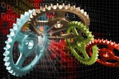 Fire Gears. Gears linked stock illustration