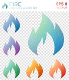 Fire geometric polygonal icons. Artistic mosaic style symbol collection. Modern low poly style. Modern design. Fire icons set for infographics or presentation Stock Image