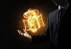 Fire gift box Stock Photography