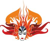 Fire girl. Girl's face with hair in the form of fire Royalty Free Stock Photography