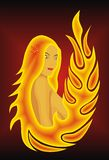 Fire girl. Design drawing beautiful girl in fire vector illustration EPS 8 Royalty Free Stock Image