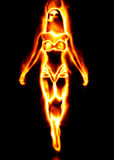 Fire girl. 3d girl from fire dancing on black background Royalty Free Stock Image