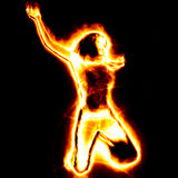 Fire girl. 3d girl from fire dancing on black background Royalty Free Stock Photography