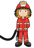 Fire Girl - Vector. Cute girl in firefighter outfit Royalty Free Stock Photo