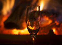 Fire with glass. Intimate fire with glass background Stock Photos