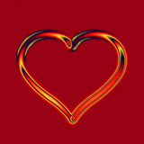Fire glass heart. Transparent glass fire heart on deep red background Stock Image