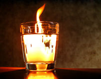Fire in glass of water Royalty Free Stock Photo