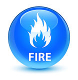 Fire glassy cyan blue round button Stock Image