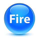Fire glassy cyan blue round button Stock Images