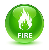 Fire glassy green round button Royalty Free Stock Photography