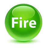 Fire glassy green round button Stock Image