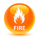 Fire glassy orange round button. Fire isolated on glassy orange round button abstract illustration Royalty Free Stock Photography