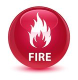 Fire glassy pink round button. Fire isolated on glassy pink round button abstract illustration Stock Photos