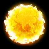 Fire globe planet Earth warming Stock Image