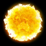 Global warming fire planet Earth. Burning Earth. Hot planet. Global warming, climate changing, doomsday Stock Photo