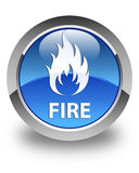 Fire glossy blue round button. Fire isolated on glossy blue round button abstract illustration Royalty Free Stock Image