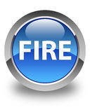 Fire glossy blue round button. Fire isolated on glossy blue round button abstract illustration Stock Photography
