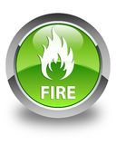 Fire glossy green round button. Fire isolated on glossy green round button abstract illustration Stock Images