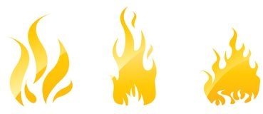 Fire glossy icons. Set of fire glossy icons for your designs royalty free illustration