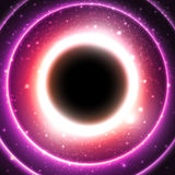 Fire glowing circle on a background of the starry. Cosmos. Black hole at the galactic center. Abstract space vector illustration Royalty Free Stock Images