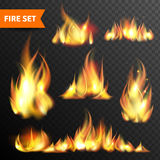 Fire glowing flames icons set. Bonfire flames in different sizes and shapes pictograms collection against black night background abstract  vector illustration Stock Photography