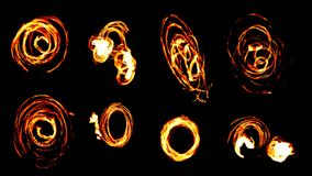 Fire with glowing lines, collage Stock Photos
