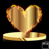 Fire gold heart on a pedestal. Abstract decoration for party, bi. Rthday celebrate, anniversary or event, festive. Festival decor. Modern design, Vector Royalty Free Stock Photography
