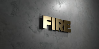 Fire - Gold sign mounted on glossy marble wall  - 3D rendered royalty free stock illustration. This image can be used for an online website banner ad or a Stock Image