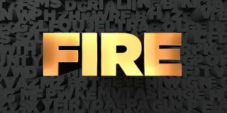 Fire - Gold text on black background - 3D rendered royalty free stock picture Stock Photo