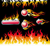 Fire graphic elements and buttons Stock Photography