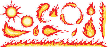Fire graphics. Different graphics of fire images Stock Photos