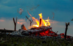 The fire on the grass picnic smoke Royalty Free Stock Photos