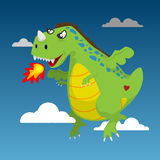 Fire Green Dragon flying in the sky. Cute cartoon  style. drawing without reference image Royalty Free Stock Photos