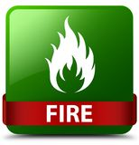 Fire green square button red ribbon in middle. Fire isolated on green square button with red ribbon in middle abstract illustration Royalty Free Stock Photos