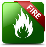 Fire green square button Stock Photography