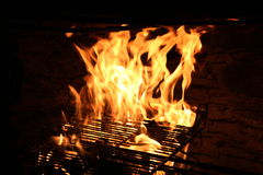 Fire in a grill Stock Photography