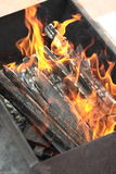 The fire in the grill. Fire with wood in a brazier for cooking marinated meat during picnic Royalty Free Stock Images